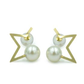 Charm 18K Gold Five-point Star Model Earring Stud with Pearls for Ladies Ornaments