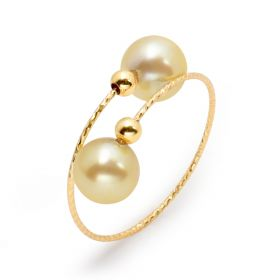 Exquisite 18 K Gold Double Pearl End Ring Adjustable for Ladies