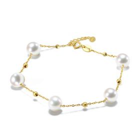 Women Jewelry 18K Gold Bracelet with 7-7.5mm Saltwater Pearls Fashion Ornaments