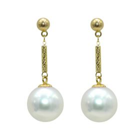High Quality 18K Gold Long Dangle Earrings with 8-9mm Saltwater Pearl Drop Earring Jewelry