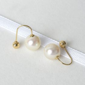 Simple Design 18 K Gold Pearl Earring Jewelry with Safety Hook for Women