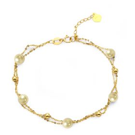 Gold Akoya Pearl Bracelets For Women Fashion Double Layer 18k Gold Chain Bracelets