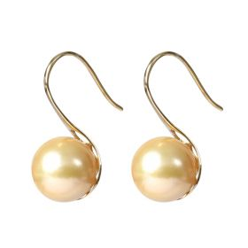Fashionable 18 K Hoop South Sea Pearl Earrings Jewelry Best Gift for Ladies