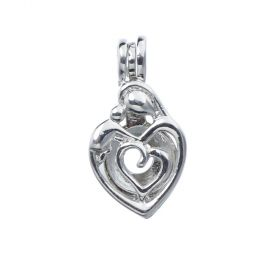 Mother and Child Pendants for Pearl Heart Cage Pendant for Women Gift DIY Jewelry Making