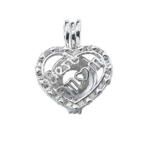 Best Mom Heart Pearl Beads Cage Locket Pendant For Oyster Pearls Mother's Day Gifts