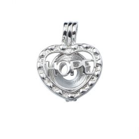 Silver Plated Cute Hope Heart Pearl Cage Pendant for Oyster Pearls, Essential Oil Diffuser Beads