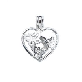 Butterfly in Heart Cage Locket Pendants DIY Jewelry Making Supply for Oyster Pearls