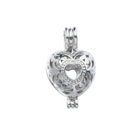 Heart Shaped Wishing Box Oyster Pearl Cage Pendant Charms for DIY Jewelry Making