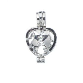 Kissing Lovers Heart Pearl Cage Pendant Setting for Wish Pearl Necklace Jewelry Making