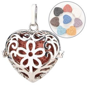Hollow Heart Cage Locket Lava Stone Perfume Fragrance Essential Oil Aromatherapy Diffuser Pendant