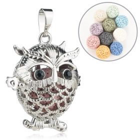 Hollow Owl Ball Locket Lava Stone Essential Oil Aromatherapy Diffuser Pendant