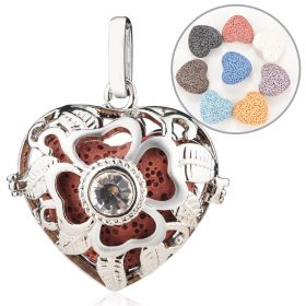 Heart Style Cage Locket Pendants for Essential Oil Scent Diffuser Jewelry Making