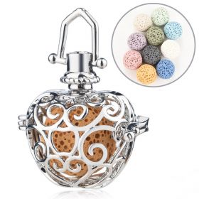 Hollow Apple Cage Filigree Ball Box Diffuser Locket Pendants For DIY Perfume Essential Oil Jewelry Findings