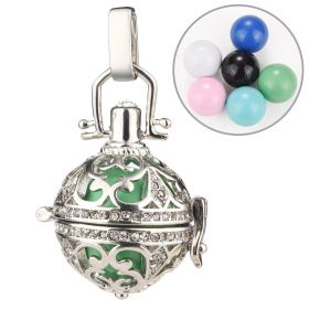 Harmony Chiming Ball Pendant Bead Cage Locket Hollow Carved Clear Rhinestone