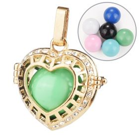 Women Harmony Bola Ball Locket Cage Hollow Out Love Heart Rhinestone Pendant