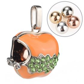 Orange Apple Inlaid Green Rhinestone Cage Locket Mexican Bola Harmony Ball Wish Box Pendants