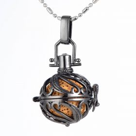 Black Hollow Harmony Ball Cage Charms Aromatherapy Locket Pendant for Essential Oil Stone Bead