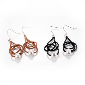 Single White Pearl Leather Earrings Friendship Knot Jewelry Gift for Women Girls