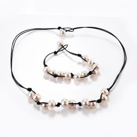 White Freshwater Pearls on Double Strands Leather Cord Necklace Matching Bracelet
