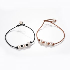 Hand-knotted Triple Freshwater Pearl Single Stranded Leather Anklet Beach Jewelry