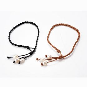 Braided Leather Pearl Anklet Bohemian Ankle Bracelet Beach Jewelry