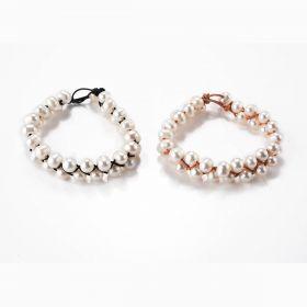 Handmade White Freshwater Pearl Leather Woven Bracelet Bridal Jewelry