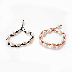 Fancy Chic Oval White Freshwater Pearl and Leather Hand Knotted Bracelet