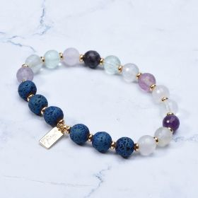 Fluorite And Lava Stone Aromatherapy Diffuser Bracelets