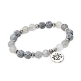 Crystal Quartz Stone and Lava Rock Diffuser Bracelet Gemstone Yoga Jewelry