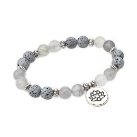 Crystal Quartz Stone and Lava Rock Diffuser Bracelet Gemstone Yoga Jewelry