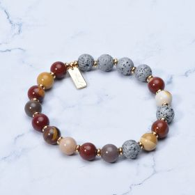 Lava Rock and Mookaite Jasper Stone Beaded Yoga Bracelet Aromatherapy Bracelet