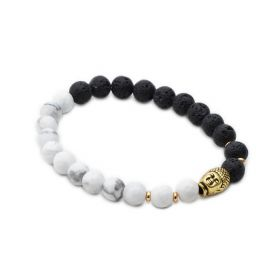 White Howlite and Lava Rock Healing Stone Energy Bracelet for Men