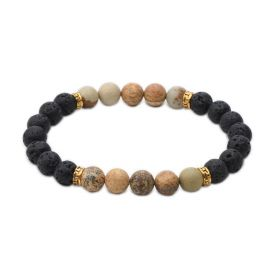 Men's Picture Jasper Lava Stone Beaded Oil Diffuser Bracelet