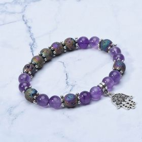Amethyst Lava Rock Stone Beaded Elastic Diffuser Bracelet Yoga Charms Bracelet