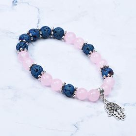 Blue Lava and Pink Chalcedony Stone Yoga Charm Bracelet