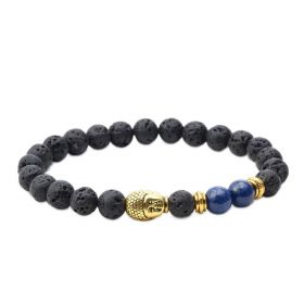 Men's Lava Rock and Lapis Lazuli Stone Diffuser Bracelet with Buddha Head Charm