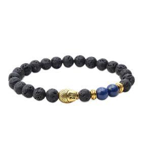 Men's Lava Rock and Lapis Lazuli Stone Diffuser Bracelet with Buddha Head Charm