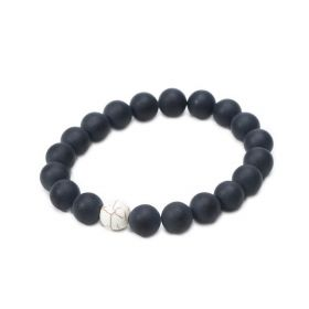 Matte Black Onyx and White Howlite Beads Stretchy Bracelet for Men