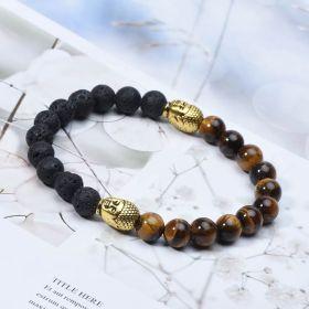 "Tiger's Eye & Black Lava Bead Stretchy Diffuser Bracelet for Men 8"""