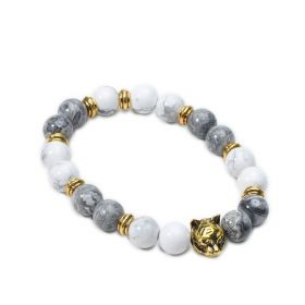 Men's White Howlite & Picasso Stone Beaded Stretch Bracelet