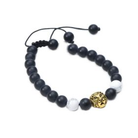 Matte Black Onyx and White Howlite Beads Braided Bracelet with Lion Head