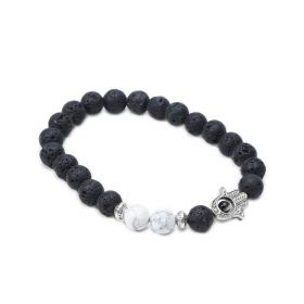 Black Lava Stone and White Howlite Hamsa Hand Bracelet for Men