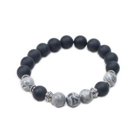 Black Matte Onyx Picasso Stone Beaded Stretch Bracelet for Men