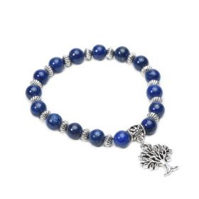 Lapis Lazuli Beaded Tree of Life Charm Stretch Bracelet Third Eye Chakra Yoga Jewelry