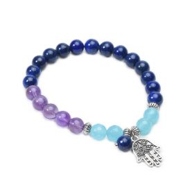 Hamsa Hand Amethyst Lapis Lazuli Chakra Healing Bracelet