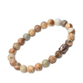 Buddha 8mm Picture Jasper Stone Beaded Stretch Bracelet for Men Birthday Gift