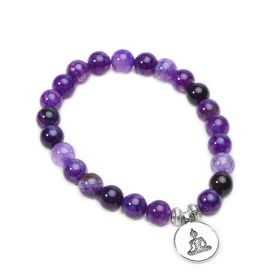 Purple Dragon Vein Agate Stone Beaded Stretchy Bracelet with Yoga Charms