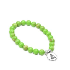 Green Imperial Jasper Beaded Stretch Yoga Mala Bracelet