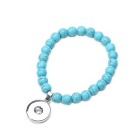 Blue Turquoise Beaded Stretch Snap Button Bracelet DIY Ginger Snaps Jewelry