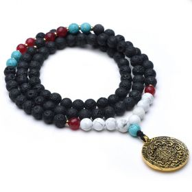 Black Lava Gemstone Beaded Long Necklace with Chinese Style Pendant